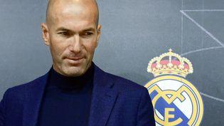 Zinédine Zidane a annoncé lors d'une conférence de presse, le 31 mai 2018, qu'il quittait son poste d'entraîneur du Real Madrid. (PIERRE-PHILIPPE MARCOU / AFP)