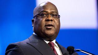 Le président de la République démocratique du Congo, FélixTshisekedi, lors d'une conférence le 1er mars 2020 à Washington aux Etats-Unis. (MICHAEL BROCHSTEIN / REUTERS)