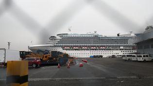"""Le paquebot """"Diamond Princess"""" mouille au port de Yokohama (Japon), dimanche 16 février 2020. (BEHROUZ MEHRI / AFP)"""