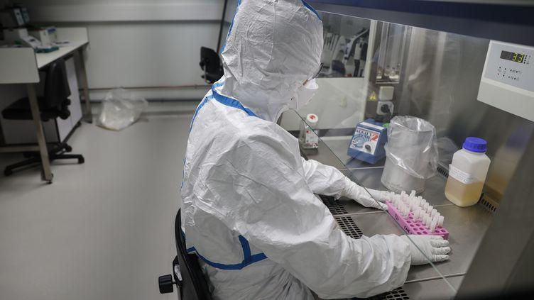 Un scientifique analyse des prélèvements de patients au Centre national de référence pour les virus respiratoires de l'Institut Pasteur, le 28 janvier 2020. (THOMAS SAMSON / AFP)