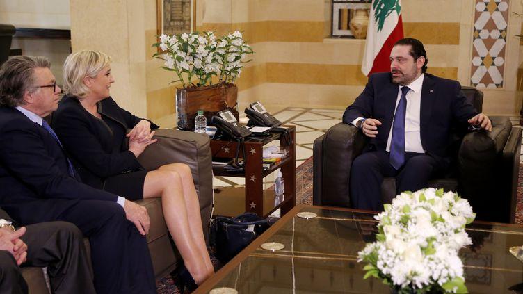 Marine Le Pen et Gilbert Collard reçus par le Premier ministre libanais Saad Hariri, le 20 février 2017 (RATIB AL SAFADI / ANADOLU AGENCY / AFP)
