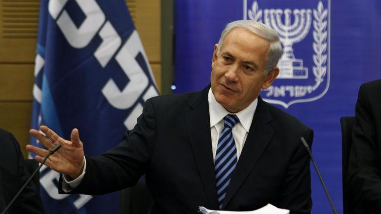 Le Premier ministre, Benyamin Netanyahu, à la Knesset, le Parlement israélien, le 18 mars 2013 à Jérusalem (Israël). (GALI TIBBON / AFP)