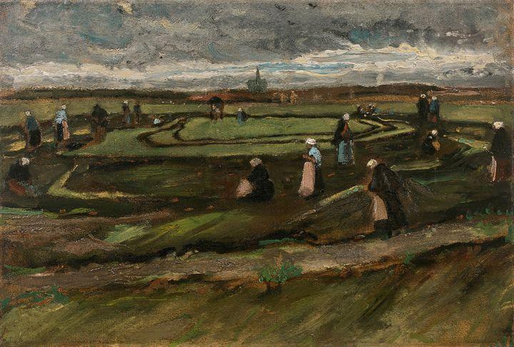 "Van Gogh : ""Raccomodeuses de filets dans les dunes"" (1882)  (Artcurial)"