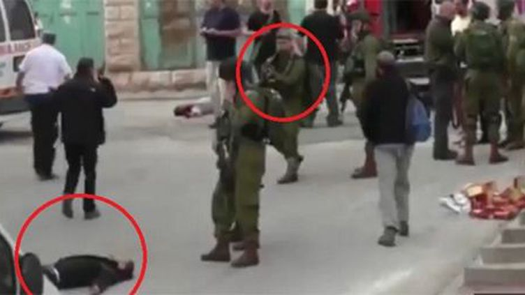 Palestinien abattu à Hébron (capture écran de RT) (B'tselem)