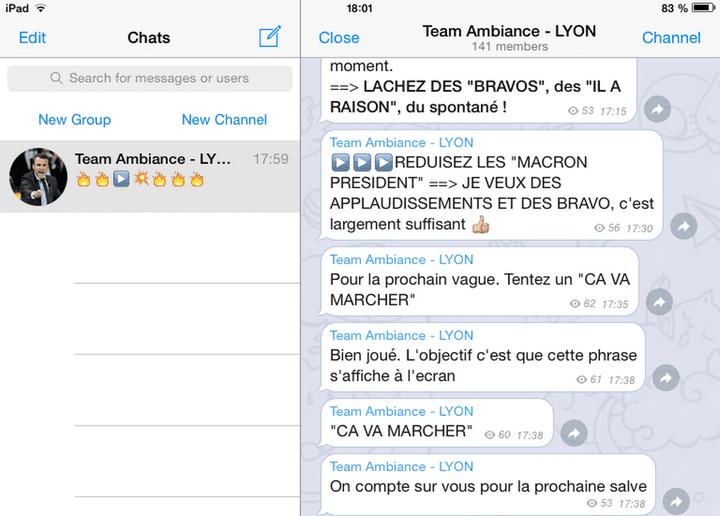 """Quelques exemples de mots d'ordre reçus par la """"Team ambiance"""" lors d'un discours d'Emmanuel Macron, le 4 février 2017 (capture d'écran). (RTS)"""
