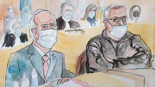 L'ancien Premier ministre, Edouard Balladur, et son ancien ministre de la Défense, François Léotard, lors de leur procès devant la Cour de justice de la République, à Paris, le 20 janvier 2021. (ELISABETH DE POURQUERY / FRANCEINFO)