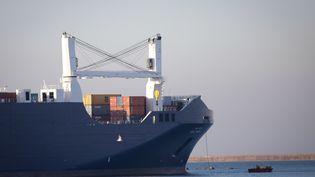 Le cargo saoudien Bahri Yanbu au large de Cherbourg le 6 février 2020 (LOU BENOIST / AFP)