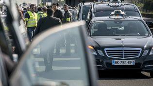 Grève des taxis à la sortie de l'aéroport de Roissy Charles-de-Gaulle, le11 juin 2014. (FRED DUFOUR / AFP)