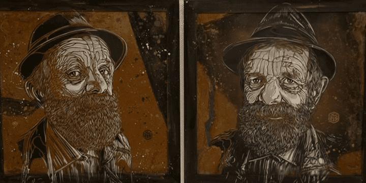 Portraits de C215 exposés à la Galerie Berthéas  (France 3 / capture d'écran)
