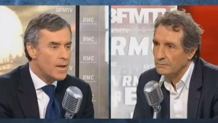 L'ex-ministre du Budget Jérôme Cahuzac et le journaliste Jean-Jacques Bourdin sur BFMTV le 8 février 2013. (FRANCETV INFO)