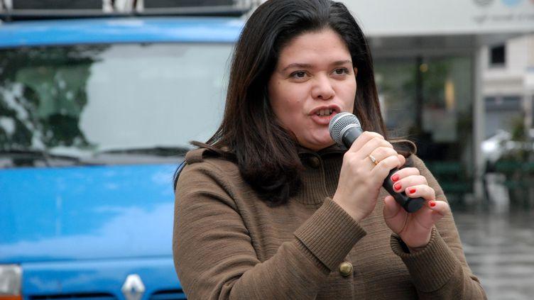 La porte-parole de La France insoumise, Raquel Garrido, le 25 avril 2014, à Paris, lors d'une manifestation. (CITIZENSIDE / PATRICE PIERROT / AFP)