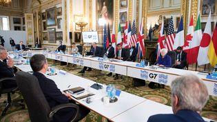 Les ministres des Finances du G7 se retrouvent à Londres le 4 juin 2021, pour la première fois depuis le début de la pandémie de Covid-19. (STEFAN ROUSSEAU / POOL / AFP)