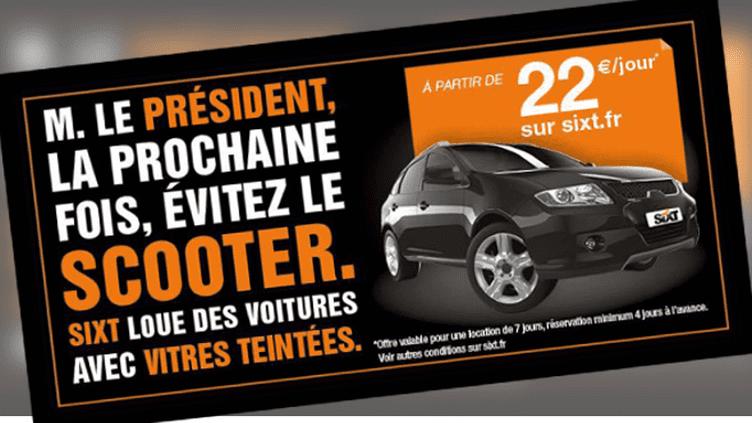 Une publicité du loueur de véhicules Sixt, dévoilée le 15 janvier 2014. (FRANCETV INFO)
