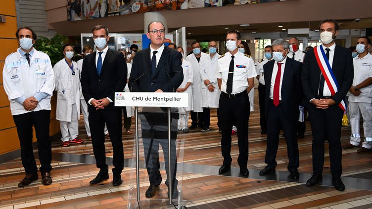 Jean Castex au CHU de Montpellier (Hérault), le mardi 11 août 2020. (PASCAL GUYOT / AFP)