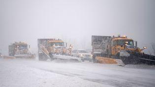 Des dizaines de chasse-neige ont été déployés sur les routes de l'Etat de New York, comme à Medford, pour éviter aux automobilistes de rester coincés dans le blizzard. (ANDREW THEODORAKIS / GETTY IMAGES NORTH AMERICA / AFP)