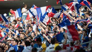 Des drapeaux français dans les tribunes lors du match France-Danemark pour le Mondial de football, le 26 juin 2018. (SVEN SIMON / MAXPPP)