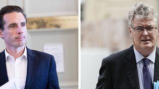 Jean-Baptiste Djebbari et Jean-Paul Delevoye. (IP3 PRESS / MAXPPP / KENZO TRIBOUILLARD / AFP / STEPHANIE BERLU)