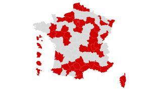 La carte des départements où le virus circule activement, mise à jour le 22 septembre 2020. (FRANCEINFO)