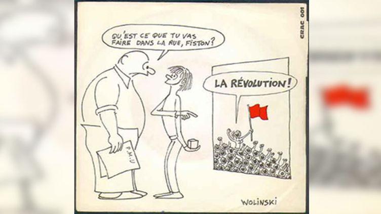 """Illustrée par Wolinski, la pochette du 45 tours """"La Révolution"""". (CRAC 001)"""