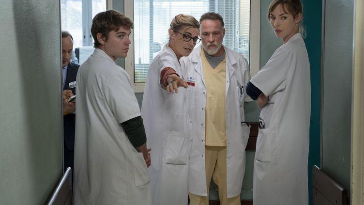Zacharie Chasseriaud (Hugo Wagner), Anne Consigny (Muriel Wagner), Bouli Lanners (Olivier Brun) , Louise Bourgoin (Chloé Antovska). (DENIS MANIN /  31 JUIN FILMS / CANAL+)