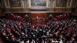 Emmanuel Macron, lors du précédent Congrès, le 3 juillet 2017, à Versailles (Yvelines). (ERIC FEFERBERG / AFP)
