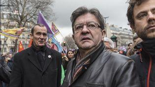 Jean-Luc Mélenchon,président du groupe La France insoumise à l'Assemblée nationale, le 6 janvier 2018 à Paris, lors d'une manifestation kurde. (SAMUEL BOIVIN / CROWDSPARK / AFP)