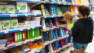 Une femme et sa fille au rayon des fournitures scolaires d'un supermarché à Valence (Drôme), le 23 août 2019. (NICOLAS GUYONNET / HANS LUCAS)