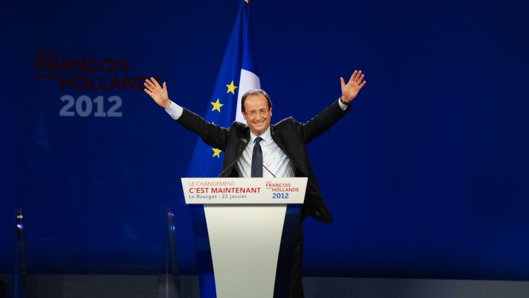 Le candidat socialiste à la présidentielle, François Hollande, lors de son meeting au Bourget (Seine-Saint-Denis), le 22 janvier 2012. (CITIZENSIDE.COM / AFP)
