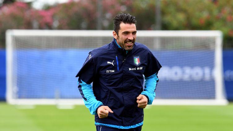 Gianluigi Buffon à l'entraînement pendant l'Euro (VINCENZO PINTO / AFP)