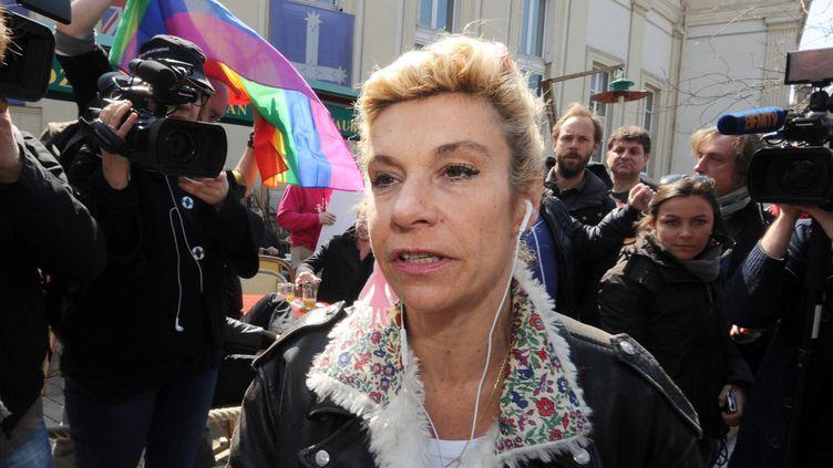 Frigide Barjot, porte-parole du collectif La Manif pour tous, lors d'une manifestation à Paris, le 21 avril 2013. (PIERRE ANDRIEU / AFP)