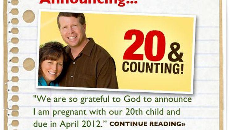 Capture d'écran de la page d'accueil de la famille Duggar, dans l'Arkansas (Etats-Unis), qui a annoncé le 8 novembre 2011 attendre son 20e enfant. (FTVi)