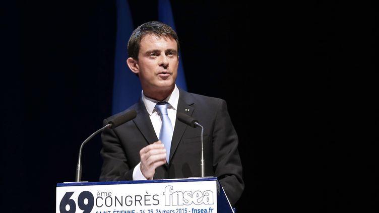 Le Premier ministre Manuel Valls, le 26 mars 2015 à Saint-Etienne (Loire). (PHILIPPE MERLE / AFP)
