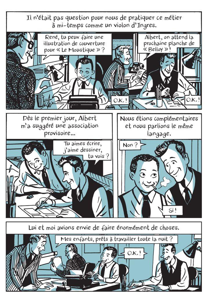 """""""Le roman des Goscinny, naissance d'un gaulois"""", page 226, les débuts de la collaboration avec Uderzo (Catel / Grasset)"""