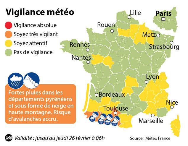 (La carte de vigilance de Météo France actualisée à 6h  © IDE)