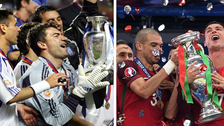 Les victoires de la Grèce à l'Euro 2004 et du Portugal lors de l'édition 2016. (AFP)