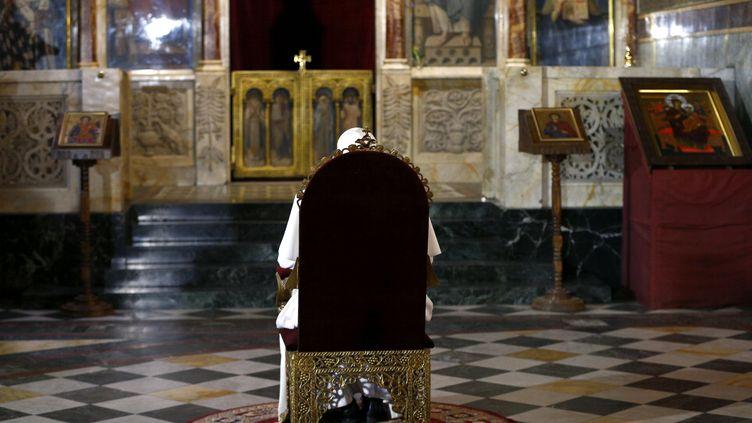 Le pape François dans la cathédrale de Sofia en Bulgarie, le 5 mai. (YARA NARDI / POOL)