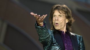 Mick Jagger avec les Stones au Stade de France le 13 juin 2014, avant qu'il ne tombe la veste, et la chemise ! (Rassurez-vous il était ensuite en T-shirt noir).  (Eric feferberg/AFP)