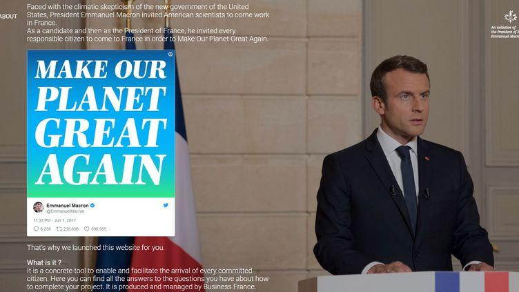 Capture d'écran du site internet Makeourplanetgreatagain.fr, lancé par l'Elysée pour promouvoir le projet d'Emmanuel Macron. (MAKEOURPLANETGREATAGAIN.FR)
