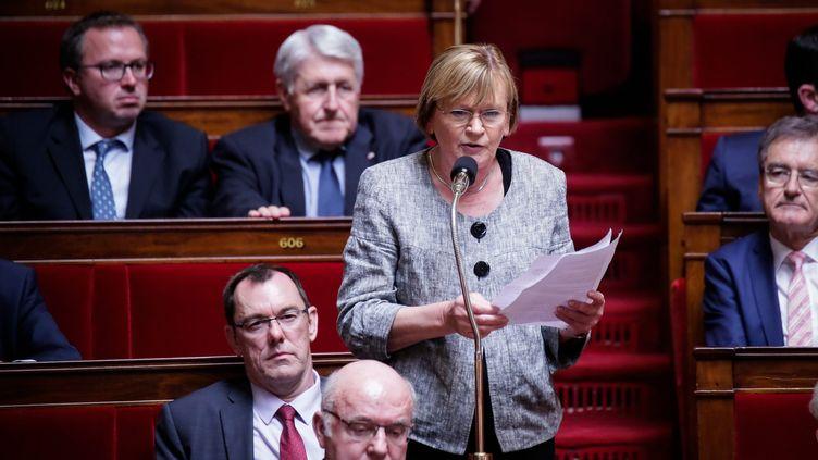 La députée communiste et ancienne ministre des sports Marie Georges Buffet, à l'Assemblée nationale. (THOMAS PADILLA / MAXPPP)