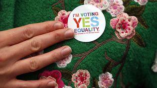 Un badge porté par une Irlandaise favorable à la légalisation du mariage pour tous en Irlande, le 21 mai 2015 à Dublin. (CATHAL MCNAUGHTON / REUTERS)