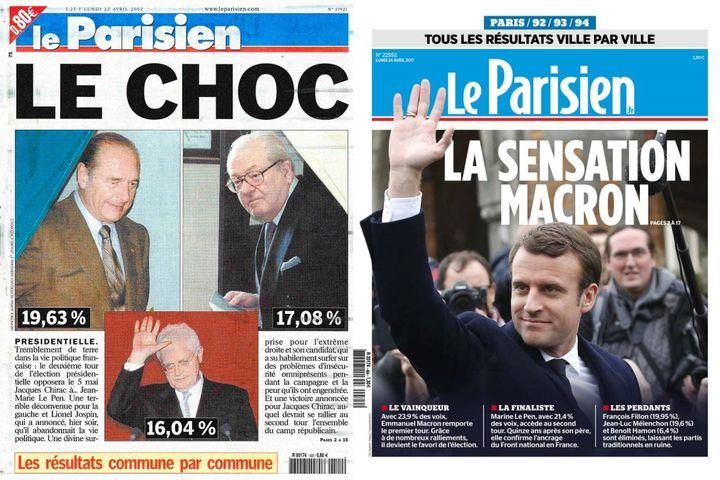 """Unes du quotidien """"Le Parisien""""du 22 avril 2002 et du 24 avril 2017. (LE PARISIEN)"""