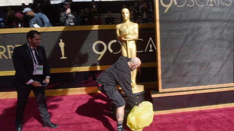Sur le tapis rouge de la 90e cérémonie des Oscars, à Hollywood, le 4 mars 2018. (ROBYN BECK / AFP)
