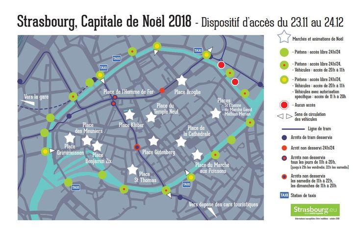 """La carte des accès à la """"Grande Ile"""" durant la période du marché de Noël à Strasbourg (Bas-Rhin). (EUROMETROPOLE DE STRASBOURG)"""