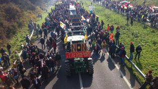 Des opposants à l'aéroport de Notre-Dame-des-Landes manifestent sur la RN 165, le 27 février 2016. (SANDRINE GADET / FRANCE 3 PAYS DE LA LOIRE)