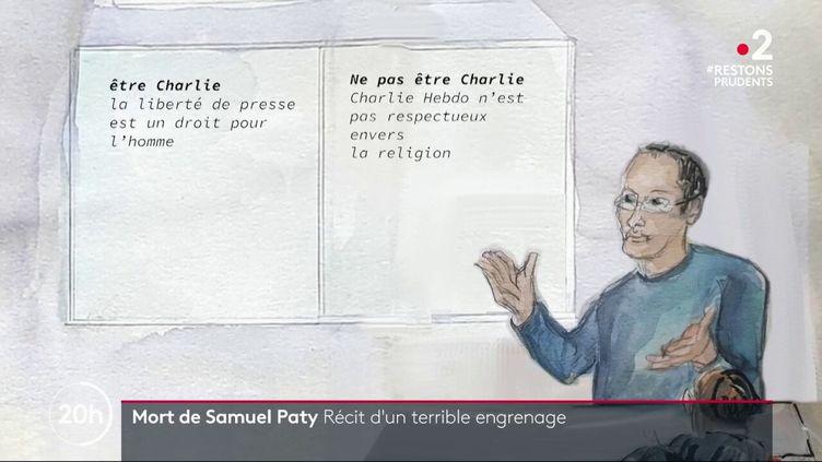 Illustration de Samuel Paty,professeur assassiné à Conflans Sainte-Honorine (Yvelines), le 16 octobre 2020. (FRANCE 2)