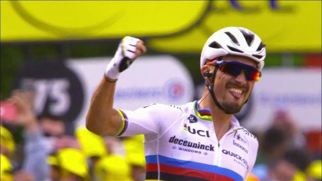 Julian Alaphilippe remporte la première étape et prend le maillot jaune !