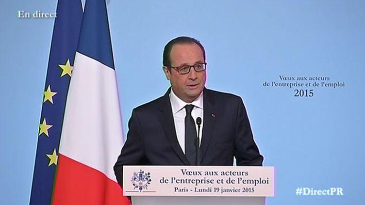 (François Hollande a présenté ses voeux lundi aux acteurs de l'économie et de l'emploi © Capture d'écran Elysee.fr)