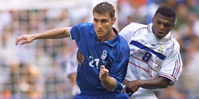 Au marquage de Christian Vieri, Marcel Desailly sera intraitable en quarts de finale du Mondial 1998