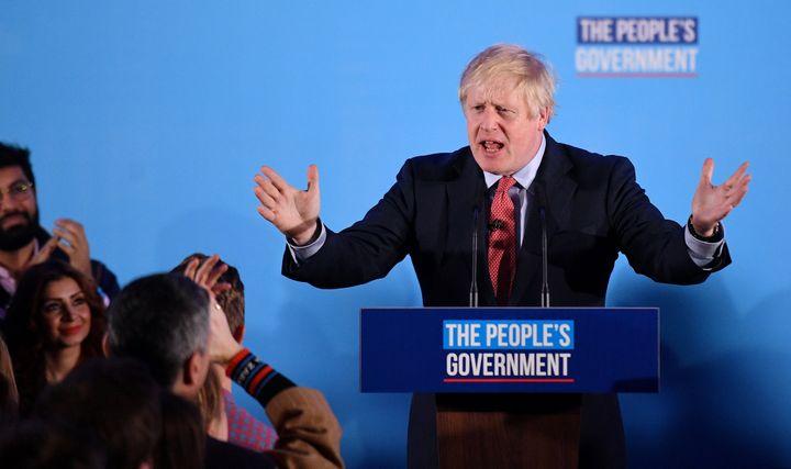 Le Premier ministre britannique, Boris Johnson, après sa victoire aux élections législatives, le 13 décembre 2019 à Londres (Royaume-Uni). (DANIEL LEAL-OLIVAS / AFP)
