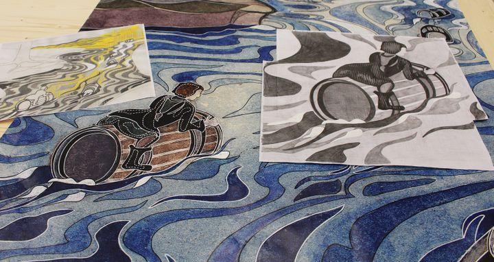Travail préparatoire au tissage  (Cité internationale de la tapisserie d'Aubusson )